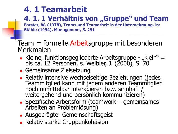 4. 1 Teamarbeit