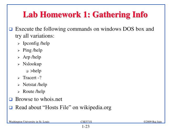 Lab Homework 1: Gathering Info