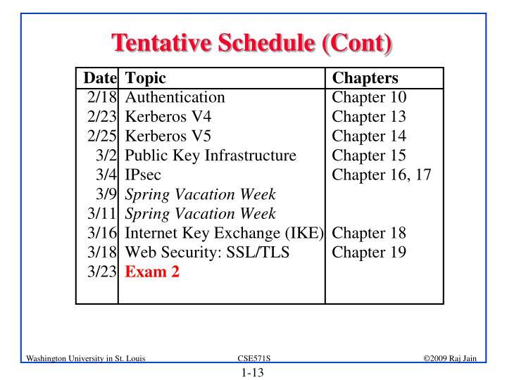 Tentative Schedule (Cont)