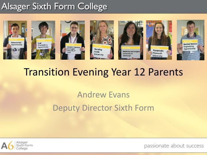 Transition evening year 12 parents
