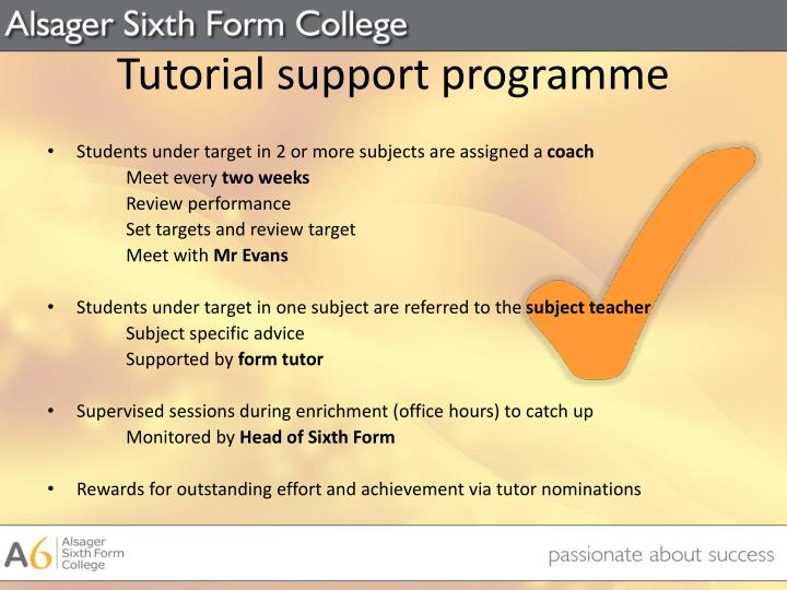 Tutorial support programme