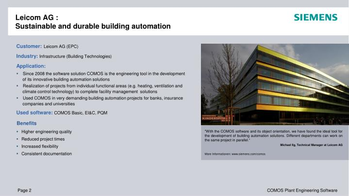 Leicom ag sustainable and durable building automation