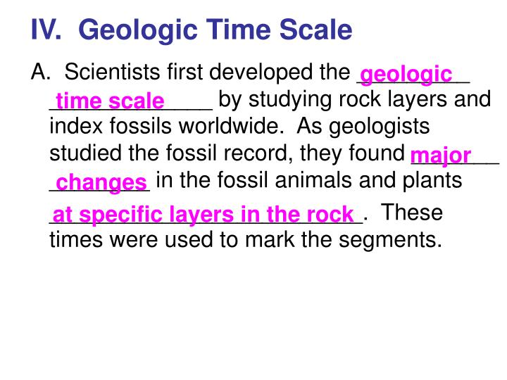IV.  Geologic Time Scale