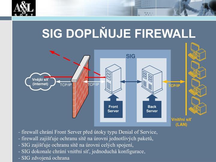 SIG DOPLŇUJE FIREWALL