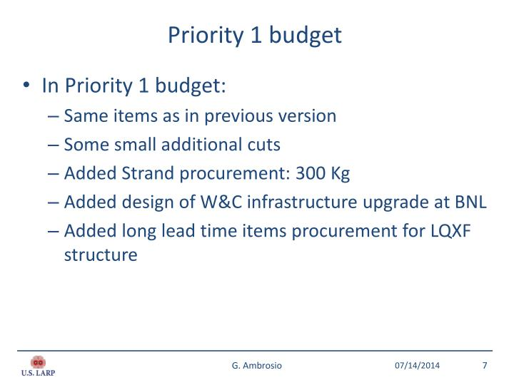 Priority 1 budget