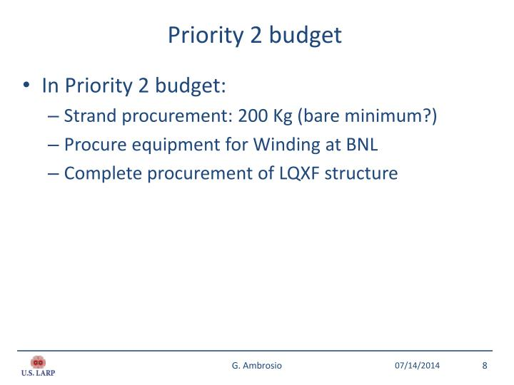 Priority 2 budget