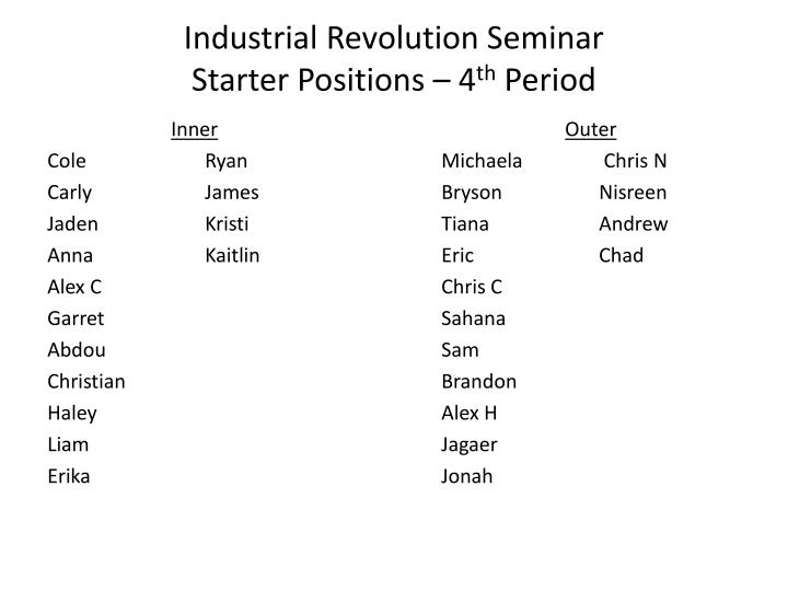 Industrial revolution seminar starter positions 4 th period
