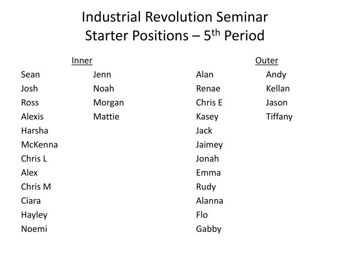 Industrial revolution seminar starter positions 5 th period