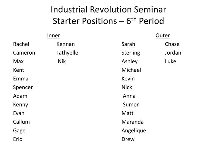 Industrial revolution seminar starter positions 6 th period