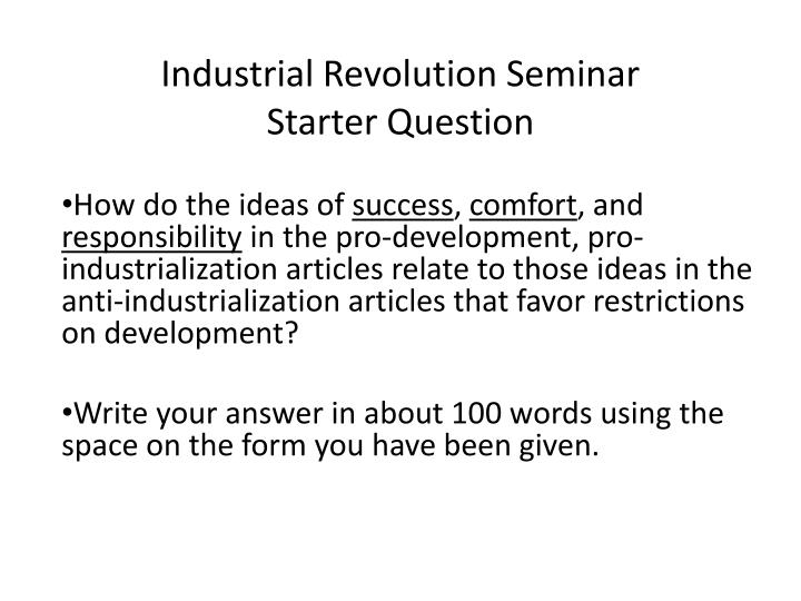 Industrial Revolution Seminar