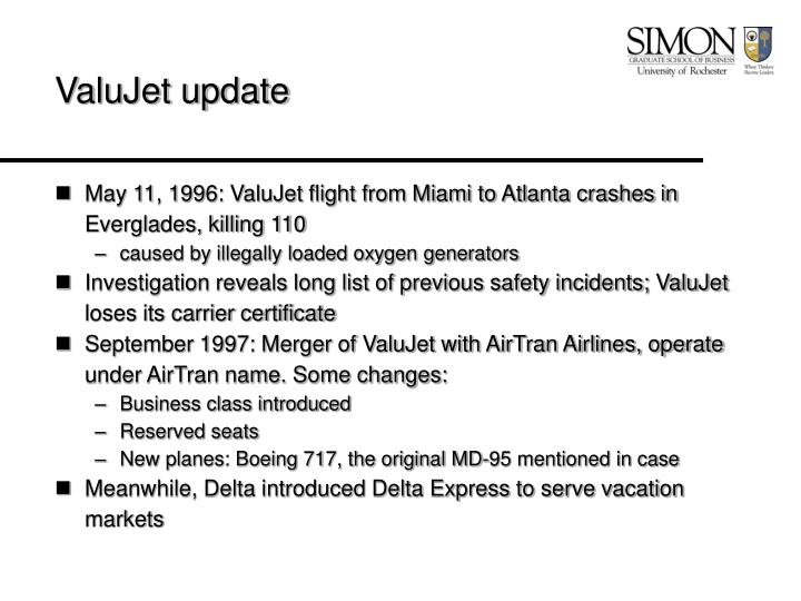 Valujet update
