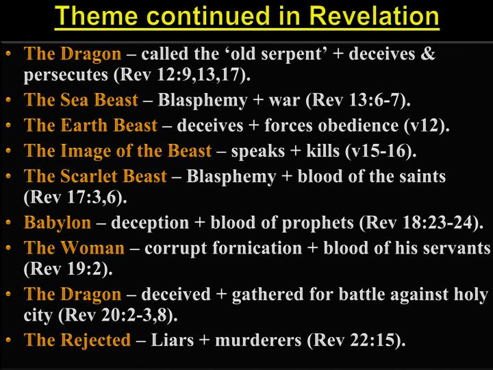 Theme continued in Revelation