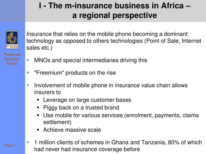 I - The m-insurance business in Africa