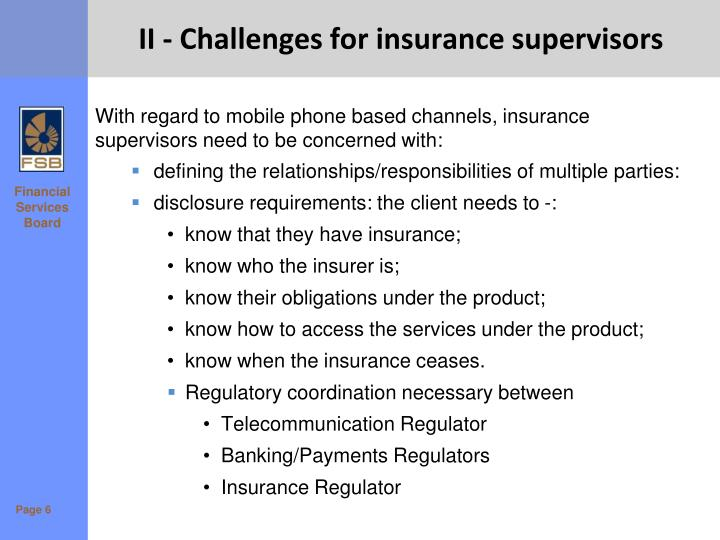II - Challenges for insurance supervisors