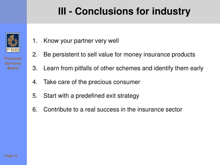III - Conclusions for industry