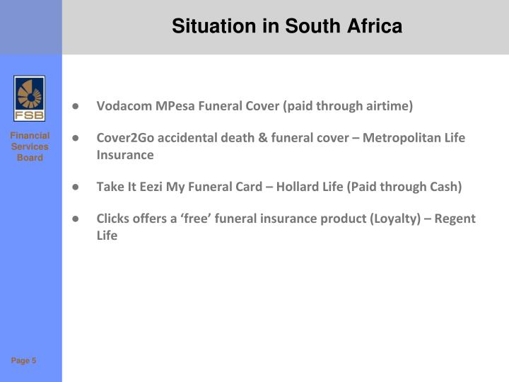 Situation in South Africa
