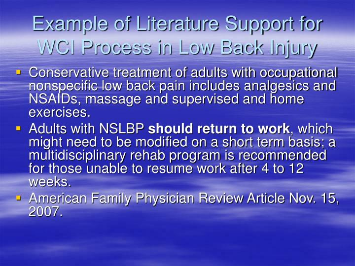 Example of Literature Support for WCI Process in Low Back Injury