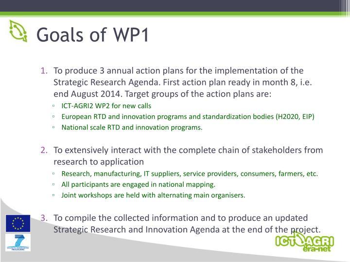 Goals of WP1