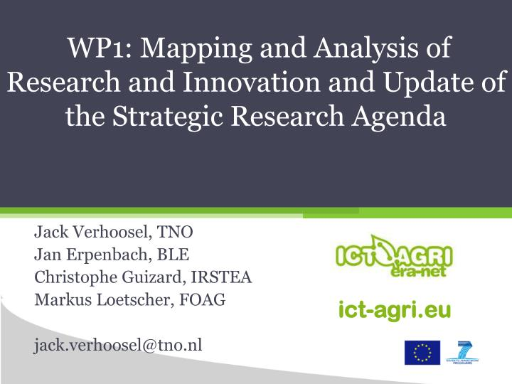 Wp1 mapping and analysis of research and innovation and update of the strategic research agenda