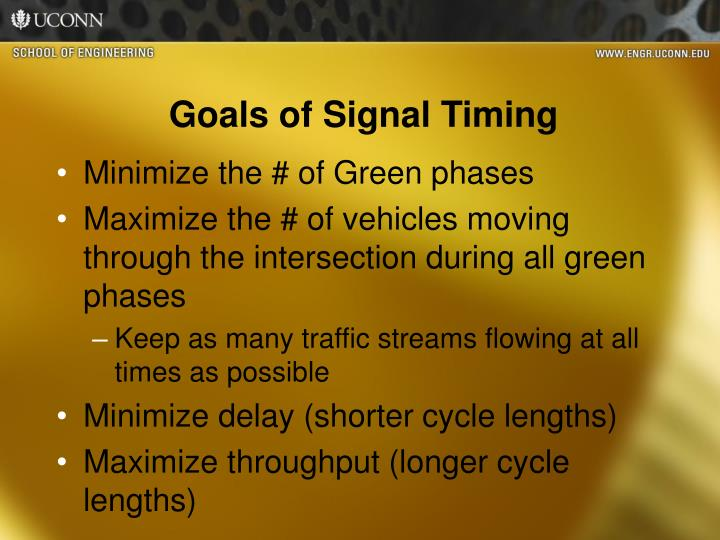 Goals of Signal Timing
