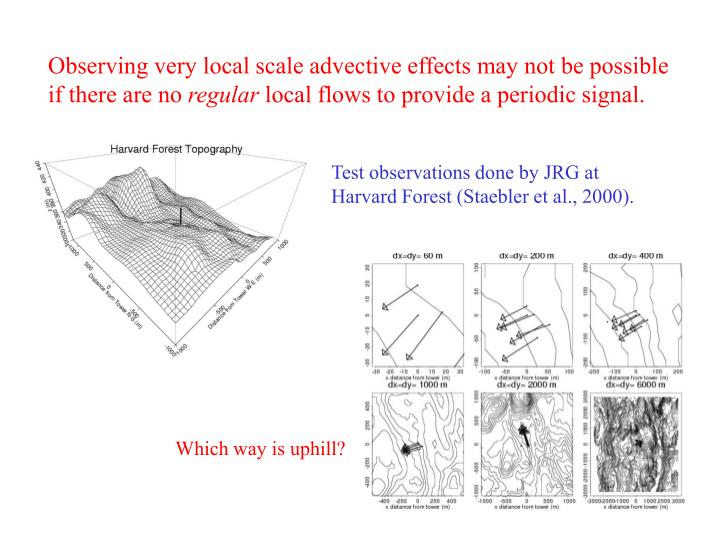 Observing very local scale advective effects may not be possible