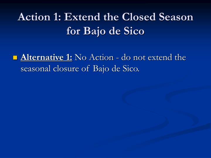 Action 1: Extend the Closed Season for Bajo de Sico