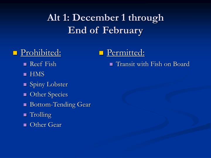 Alt 1: December 1 through