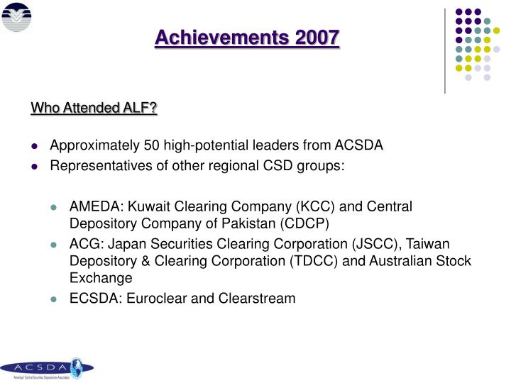 Achievements 2007