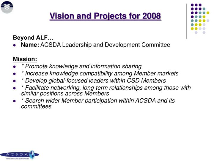 Vision and Projects for 2008