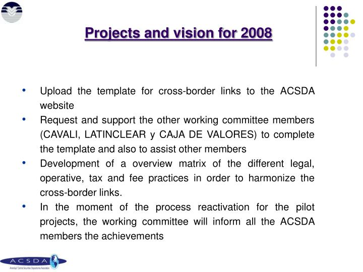 Projects and vision for 2008