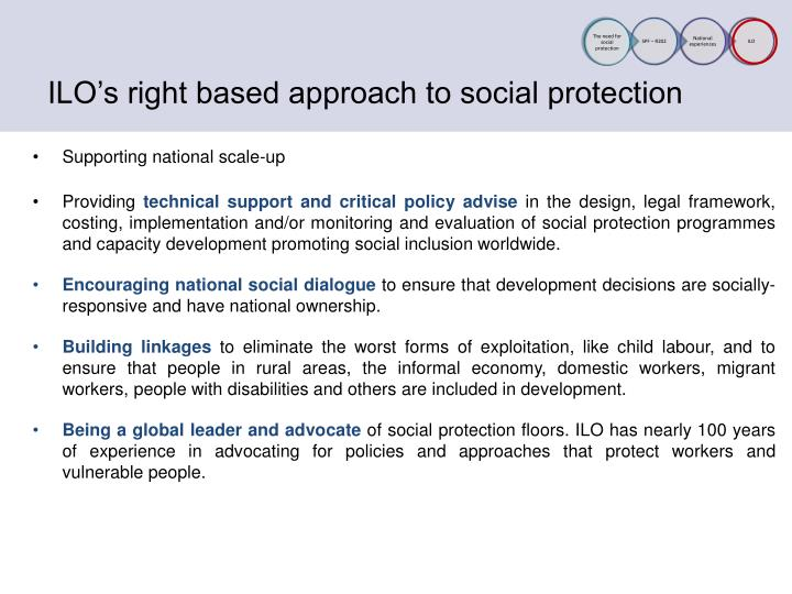 ILO's right based approach to social protection