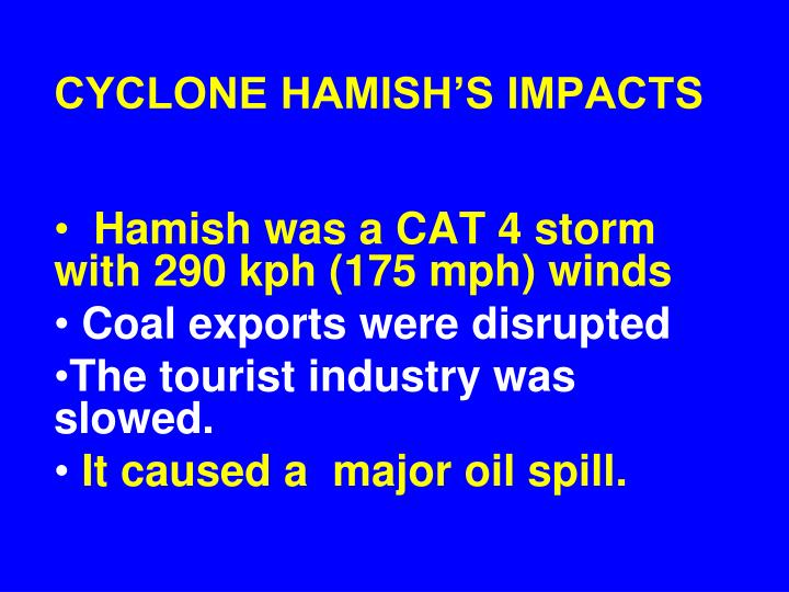 CYCLONE HAMISH'S IMPACTS