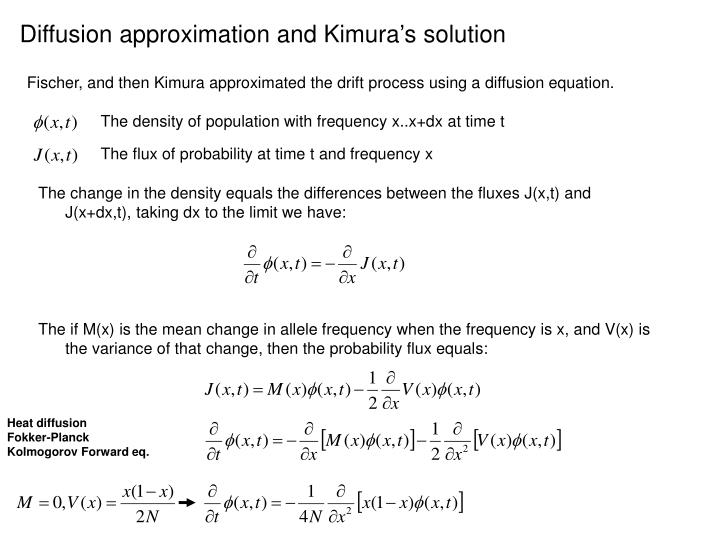 Diffusion approximation and Kimura's solution