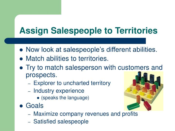 Assign Salespeople to Territories