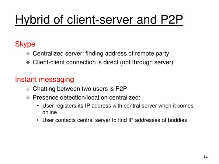 Hybrid of client-server and P2P
