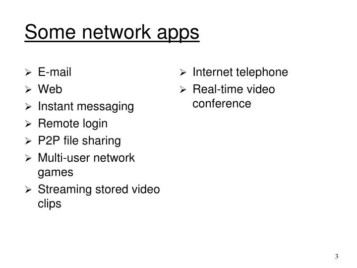 Some network apps