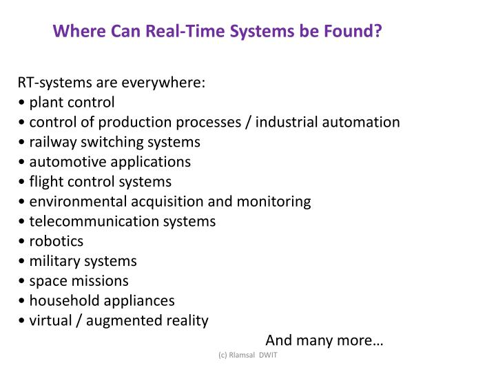 Where Can Real-Time Systems be Found?