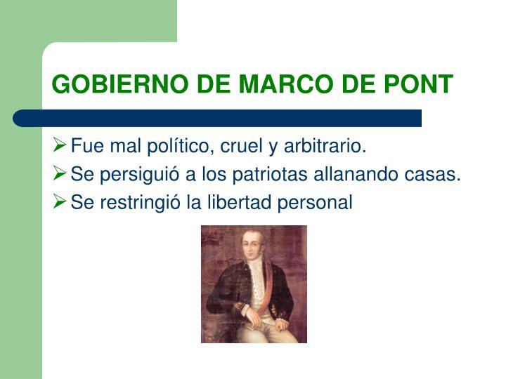 GOBIERNO DE MARCO DE PONT