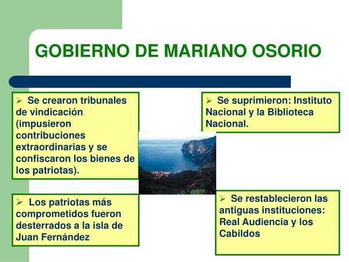GOBIERNO DE MARIANO OSORIO
