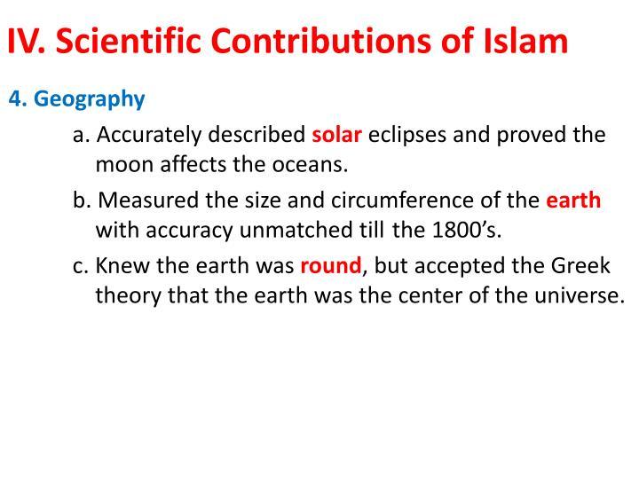 IV. Scientific Contributions of Islam