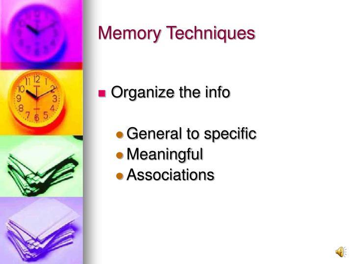 Organize the info