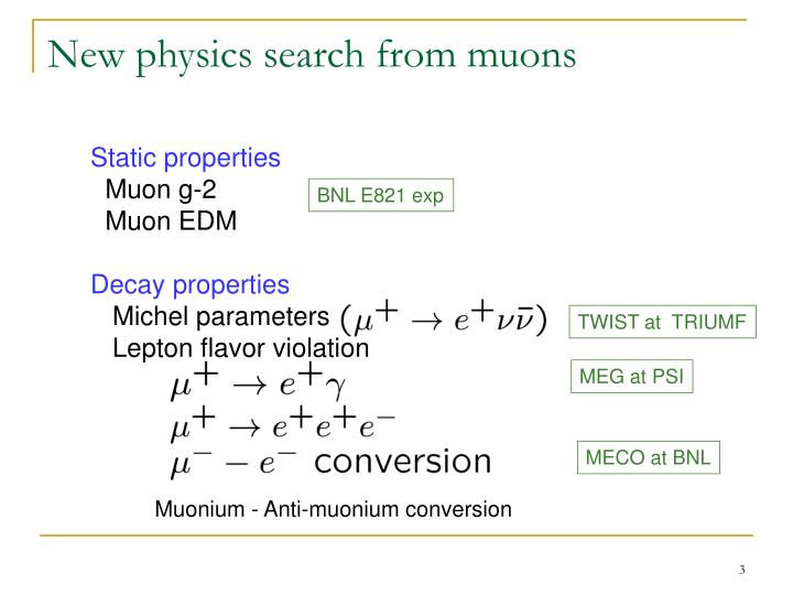 New physics search from muons