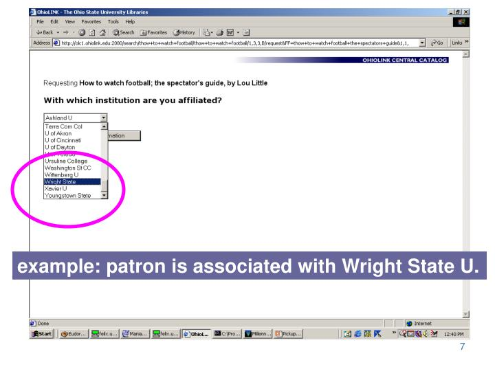 example: patron is associated with Wright State U.