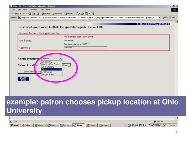 example: patron chooses pickup location at Ohio University