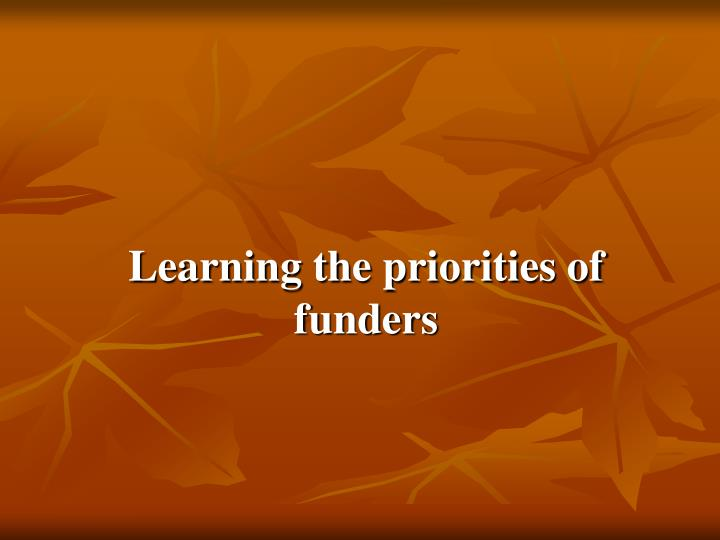 Learning the priorities of funders