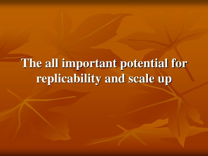 The all important potential for replicability and scale up