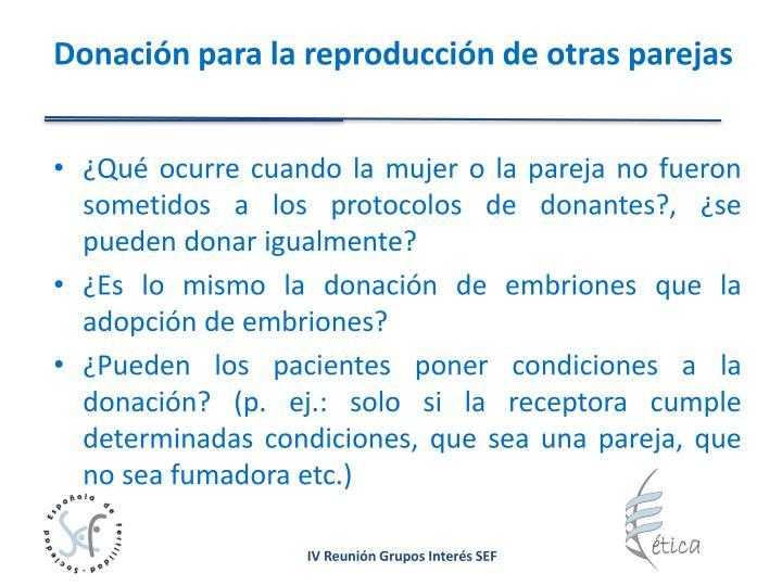 Donación para la reproducción de otras parejas