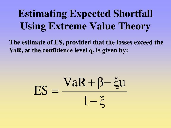 Estimating Expected Shortfall Using Extreme Value Theory
