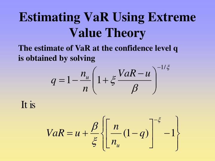 Estimating VaR Using Extreme Value Theory