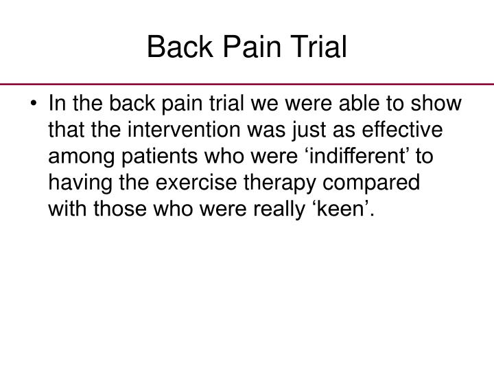 Back Pain Trial